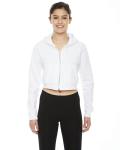 WHITE Ladies' Cropped Flex Fleece Zip Hoodie