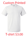 White $3.00 Heavy Cotton Tee w/ Print