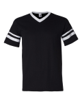 Black White V-Neck Jersey with Striped Sleeves