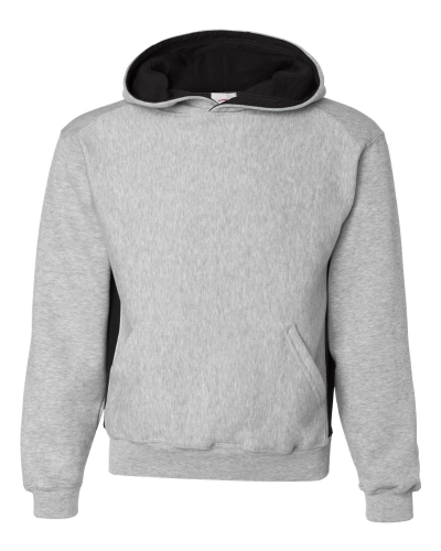 Oxford Black Badger - Youth Contrast Color Underarm Sweatshirt with Hood