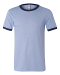 Heather Blue Navy Bella Short Sleeve Ladies' Heather Ringer Jersey Tee