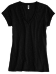 Jet Black Bella Short Sleeve Ladies' Jersey Deep V-Neck Tee