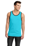 Aquamarine Blk District Young Mens Cotton Ringer Tank DT1500