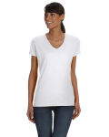 WHITE Ladies'  Heavy Cotton V-Neck T-Shirt