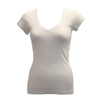 Customize a White -  - Ladies/Juniors Soft Jersey Knit VNeck T-Shirt