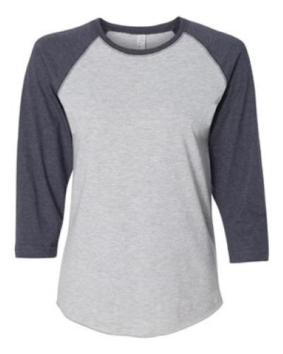 a59e00095 Vintage Heather Ladies' Fine Jersey 3/4 Sleeve Baseball T-Shirt ...