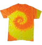 Spiral Yellow Orange Tie Dye Multicolor Tee