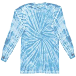 Baby Blue Long Sleeve Spider Tie Dye Tee