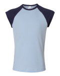 Baby Blue Navy Bella Girl - 1x1 Rib Cap Sleeve T-Shirt