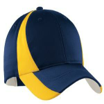 Tr Navy Gold Sport-Tek Dry Zone Nylon Colorblock Cap