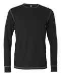 Black Grey Long Sleeve Contrast Stitch Lombard Thermal T-Shirt