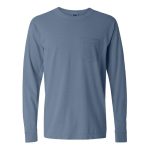 Blue Jean Long Sleeve Heavyweight Cotton Pocket Tee