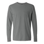 Gray Long Sleeve Heavyweight Cotton Pocket Tee