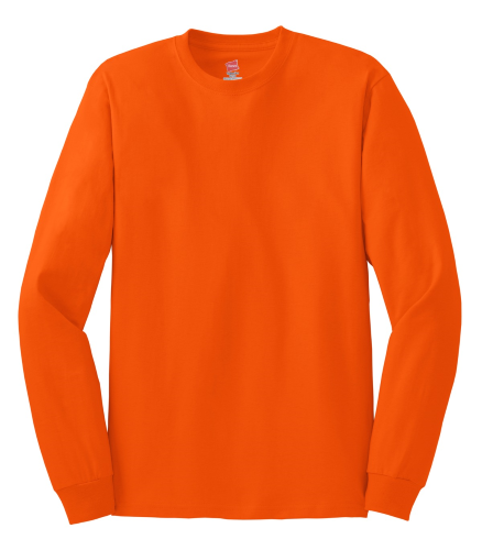 Lime Hanes Tagless 100% Cotton Long Sleeve T-Shirt Orange