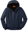 Navy CornerStone Washed Duck Cloth Insulated Hooded Work Jacket