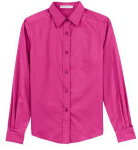 Tropical Pink Port Authority Ladies Long Sleeve Easy Care Shirt