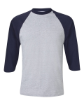 Heather Grey Navy 3/4 Sleeve Raglan Baseball T-Shirt