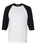 White Black 3/4 Sleeve Raglan Baseball T-Shirt
