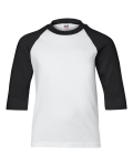 White Black Youth 3/4 Sleeve Baseball T-Shirt
