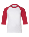 White Red Youth 3/4 Sleeve Baseball T-Shirt