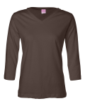 Brown Ladies' V-Neck T-Shirt with 3/4 Sleeves