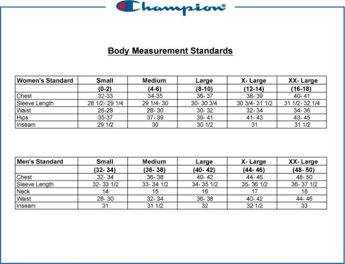 champion t shirt sizing chart