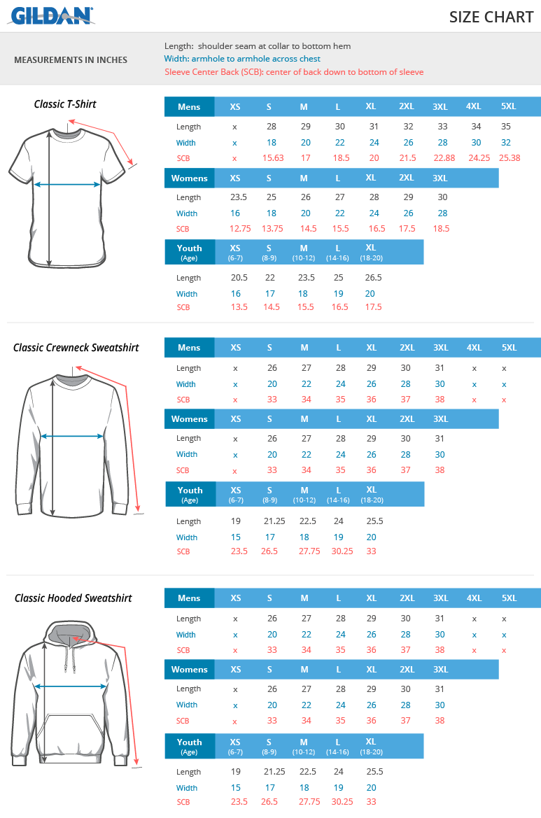 Sp grey gildan youth heavy blend hooded sweatshirt by for Gildan brand t shirt size chart