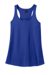 Deep Royal Ladies Solid Gathered Racerback Tank