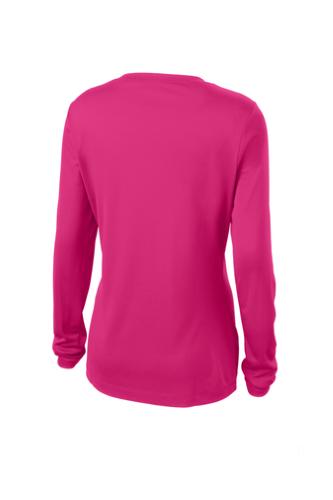 a29771a3 Black Sport-Tek Ladies Long Sleeve V-Neck Competitor Tee Pink ...