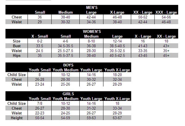 size chart for youth under armour
